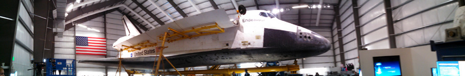 A panorama that I took of space shuttle Endeavour during the 'Go for Payload' event at the California Science Center, on October 9, 2014.