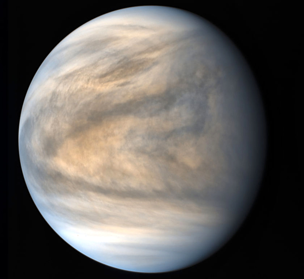 An image of Venus that was taken by Akatsuki using the spacecraft's Longwave IR camera on March 25, 2016 (Japan Standard Time)