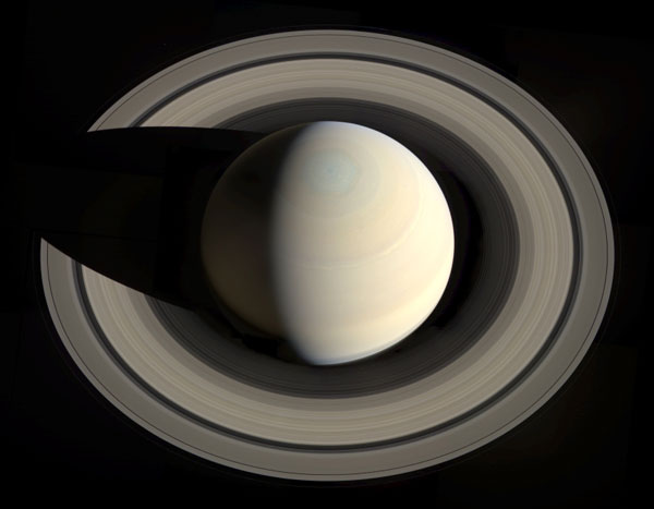 A mosaic of Saturn that is comprised of images taken by NASA's Cassini spacecraft on October 10, 2013