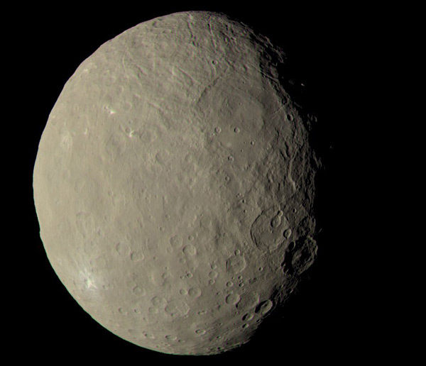 An image of dwarf planet Ceres that was taken by the Dawn spacecraft