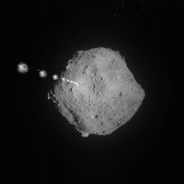 An artist's concept of JAXA's Hayabusa 2 spacecraft orbiting asteroid Ryugu