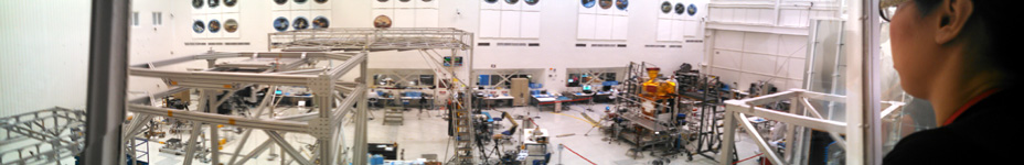 A panorama that I took inside the Spacecraft Assembly Facility (SAF) at NASA JPL...where the real SMAP satellite is being built and tested.