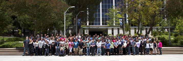 A group photo of all the NASA Tweetup attendees at the Jet Propulsion Laboratory near Pasadena, California.