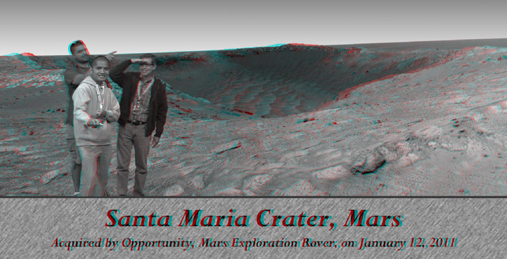 A 3-D image of me and two fellow JPL Tweetup attendees standing on the surface of Mars.