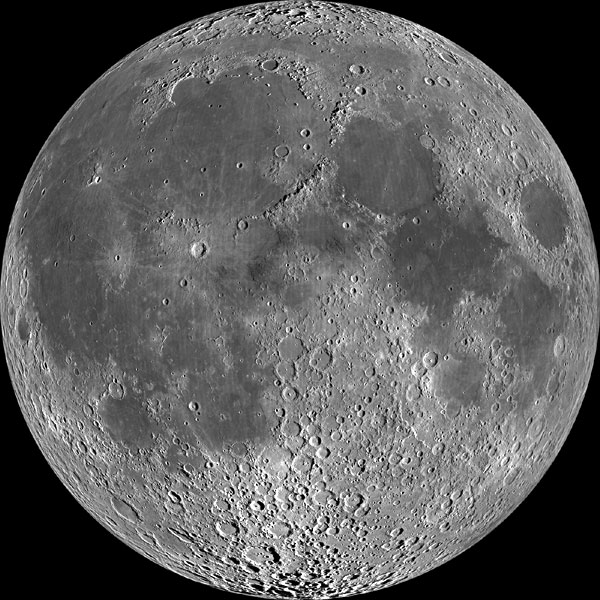 A Lunar Reconnaissance Orbiter (LRO) mosaic of the Moon, taken in mid-December 2010