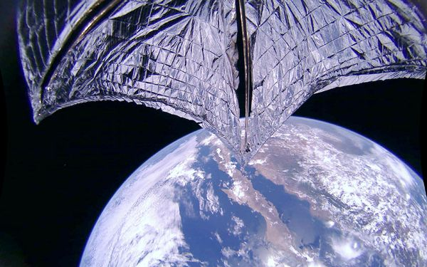 An image that was taken of LightSail 2's solar sail after it was successfully deployed on July 23, 2019