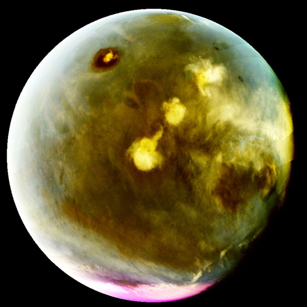 An ultraviolet image of Mars that was taken by NASA's MAVEN spacecraft on July 9-10, 2016