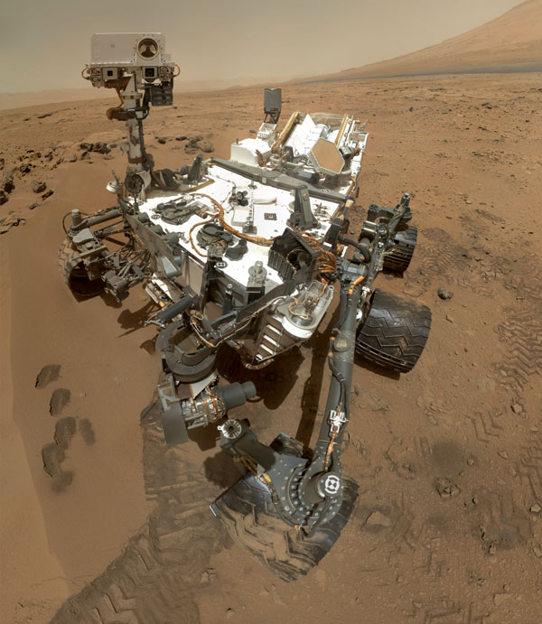 A self-portrait of NASA's Curiosity Mars rover, taken with a camera on her robotic arm on October 31, 2012