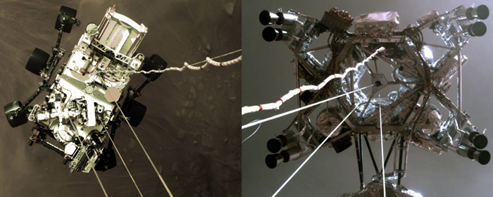 Video screenshots from two onboard cameras showing NASA's Perseverance rover being lowered onto the Martian surface by its rocket-powered descent stage...on February 18, 2021