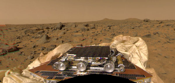An image of the Sojourner rover on the Martian surface...taken by the Pathfinder lander on July 4, 1997