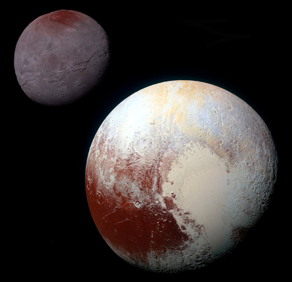 A composite image showing Pluto and Charon as seen by the New Horizons spacecraft