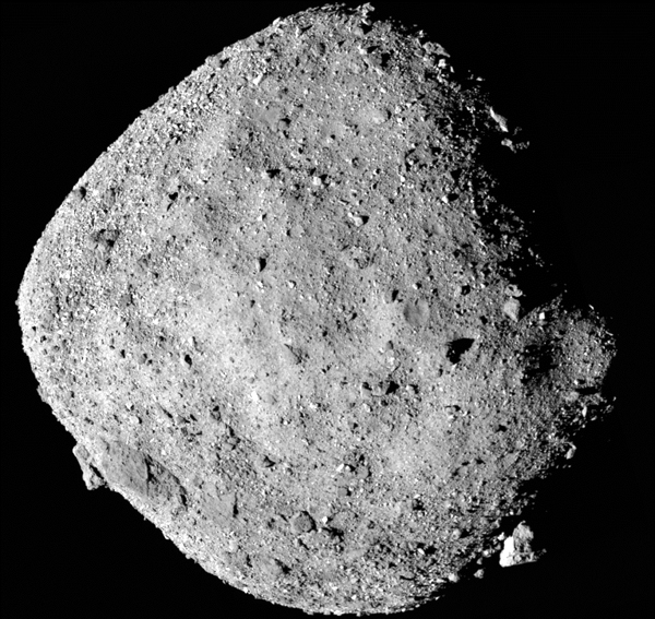 An artist's concept of NASA's OSIRIS-REx spacecraft taking dust and soil samples from the surface of asteroid Bennu
