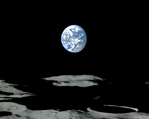 Kaguya's HDTV image of Earth setting behind the Moon